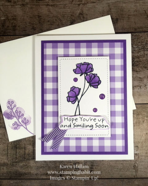 love what you do, gingham gala dsp, rectangle stitched framelit dies, get well card idea, Stampin Up, Karen Hallam, stampinup